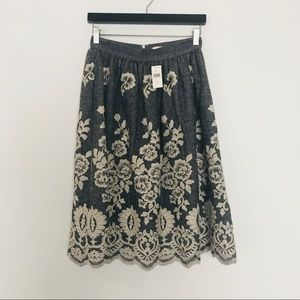 NWT Anthropologie wool gold foil lace midi skirt 8